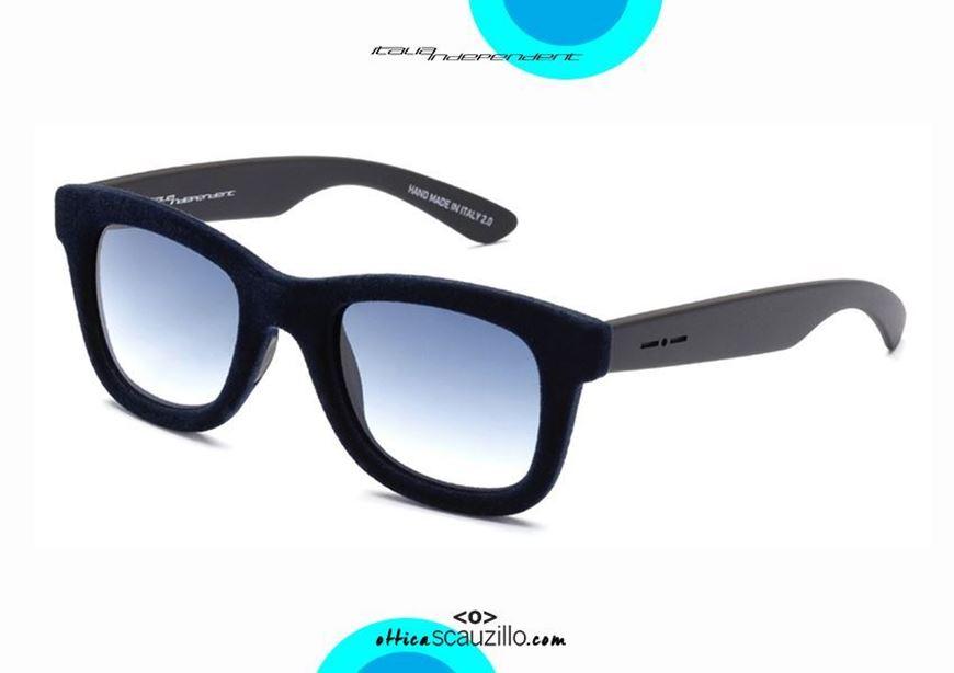 shop online Velvet wayfarer sunglasses Italia Independent VELVET mod. 0090V blue otticascauzillo.com acquisto online nuovo Occhiale da sole wayfarer in velluto Italia Independent VELVET mod. 0090V blu
