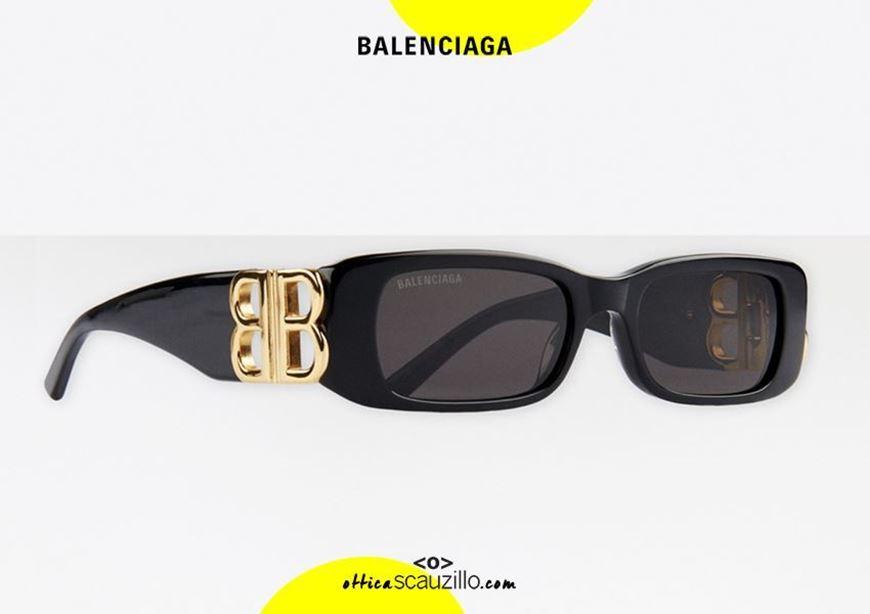 shop online New rectangular sunglasses logo BB Balenciaga BB0096S col. 001 black otticascauzillo.com  acquisto online Nuovo occhiale da sole rettangolare con logo BB Balenciaga BB0096S col.001 nero