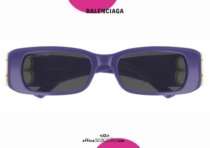 shop online New rectangular sunglasses with BB Balenciaga logo BB0096S col. 004 purple otticascauzillo.com acquisto online Nuovo occhiale da sole rettangolare con logo BB Balenciaga BB0096S col.004 viola