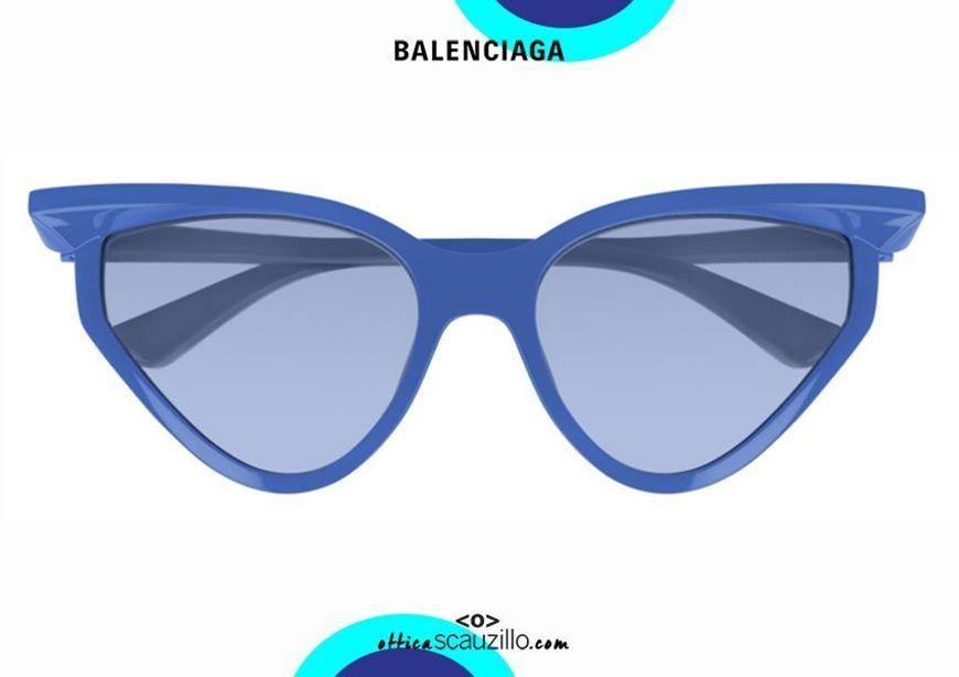 shop online New 3D cat eye sunglasses Balenciaga BB0101S col. 004 blue otticascauzillo.com acquisto online Nuovo occhiale da sole cat eye 3D Balenciaga BB0101S col.004 blu
