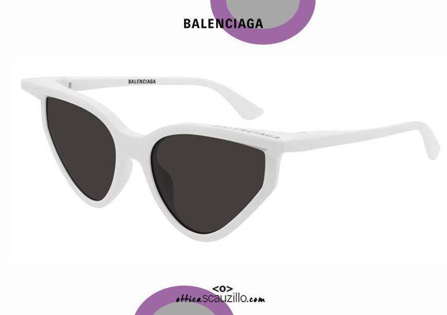 shop online New cat eye sunglasses 3D Balenciaga BB0101S col. 005 white otticascauzillo.com  acquisto online Nuovo occhiale da sole cat eye 3D Balenciaga BB0101S col.005 bianco