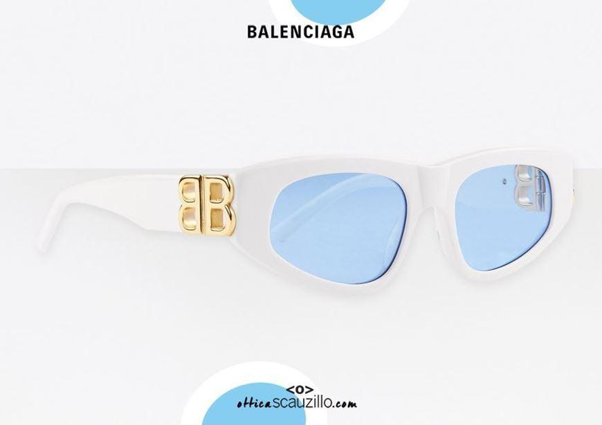 shop online New cat eye sunglasses BB logo Balenciaga BB0095S Dynasty col. 004 white otticascauzillo.com acquisto online Nuovo occhiale da sole cat eye con logo BB Balenciaga BB0095S Dynasty col.004 bianco