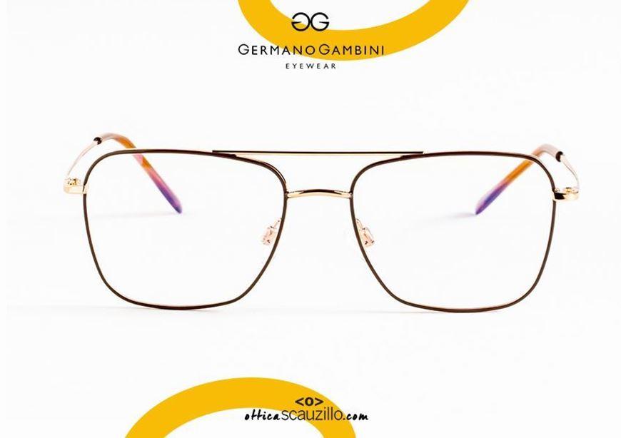 shop online Double bridge square metal eyeglasses i Leggeri Germano Gambini GG89 copper and brow otticascauzillo.com acquisto online nuovo Occhiale da vista metallo squadrato doppio ponte i Leggeri Germano Gambini GG89 rame e marrone
