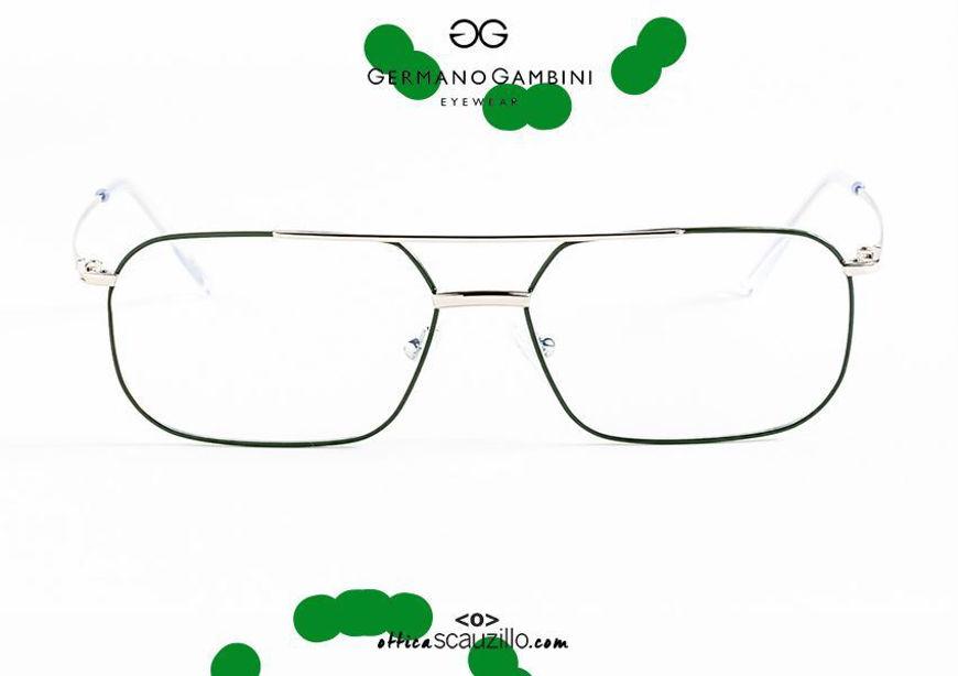 shop online Narrow square metal eyeglasses with double bridge i Leggeri Germano Gambini GG121 silver green otticascauzillo.com acquisto online nuovo Occhiale da vista metallo squadrato stretto doppio ponte i Leggeri Germano Gambini GG121 argento verde