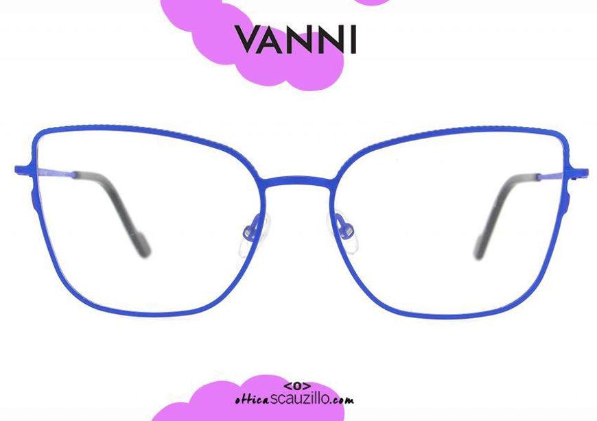 shop online Cat eye metal eyeglassesVANNI V4193 C.384 blue pointed eyewear otticascauzillo.com acquisto online nuovo Occhiale da vista in metallo cat eye a punta VANNI V4193 C.384 blu