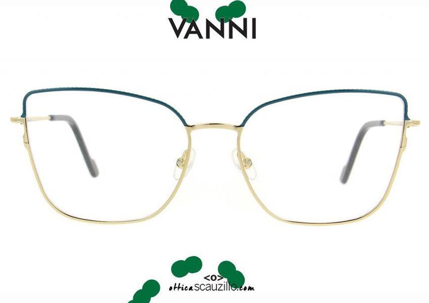 acquist online nuovo Occhiale da vista in metallo cat eye a punta VANNI V4193 C.39 verde petrolio otticascauzillo.com shop online new VANNI V4193 C.39 pointed green cat eye metal eyeglasses