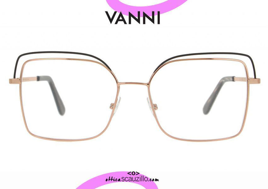 acquisto online nuovo Occhiale da vista in metallo squadrato oversize VANNI V6232 C.239 oro e nero otticascauzillo.com shop online new Oversized square metal VANNI V6232 C.239 gold and black eyeglasses