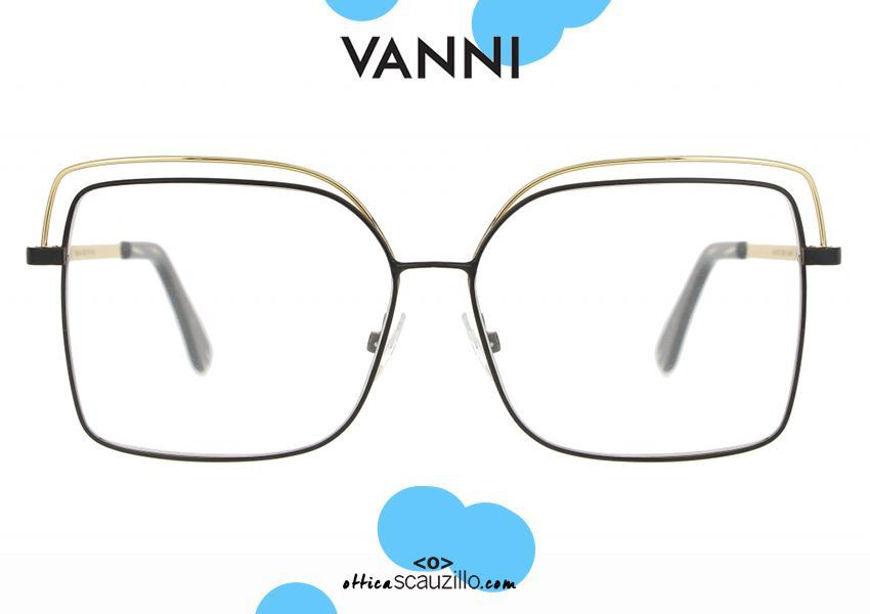 shop online Oversized square metal VANNI V6232 C.231 black and gold eyeglasses otticascauzillo.com acquisto online nuovo Occhiale da vista in metallo squadrato oversize VANNI V6232 C.231 nero e oro