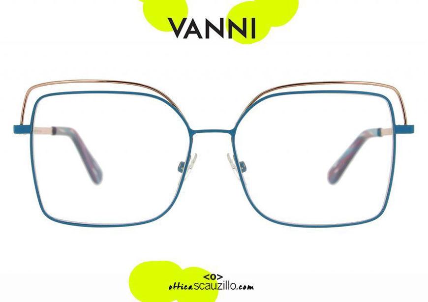 shop online VANNI V6232 C.239 turquoise rose gold oversized square metal eyeglasses otticascauzillo.com acquisto online nuovo Occhiale da vista in metallo squadrato oversize VANNI V6232 C.239 turchese oro rosa