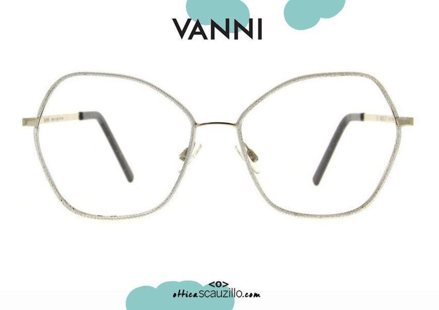 shop online new VANNI V6202 C.77 silver oversized metal eyeglasses otticascauzillo.com acquisto online nuovo Occhiale da vista in metallo a punta oversize VANNI V6202 C.77 argento