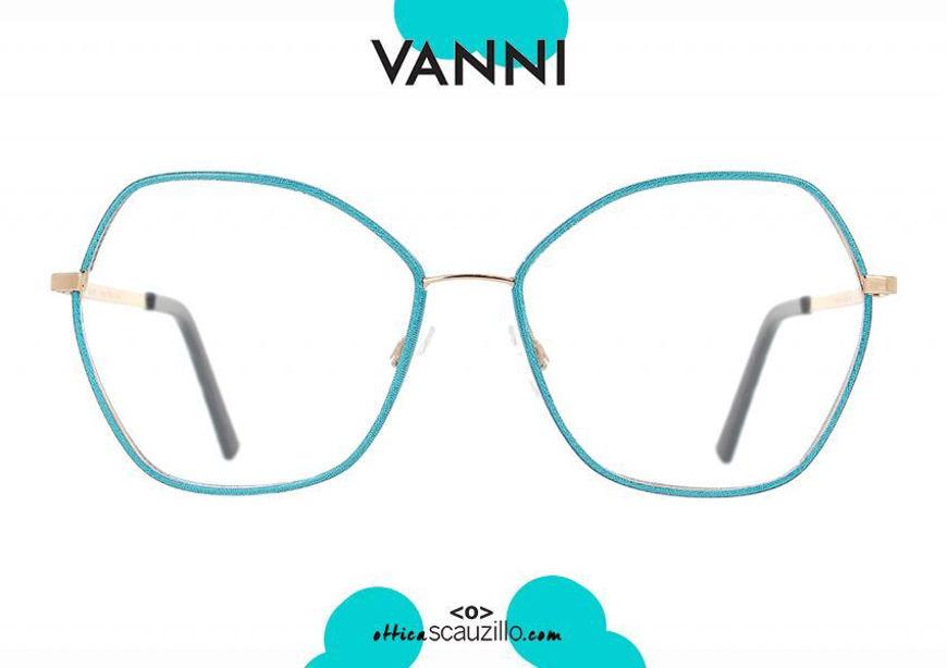 acquisto online nuovo Occhiale da vista in metallo a punta oversize VANNI V6202 C.43 oro e azzurro otticascauzillo.com shop online new Oversize pointed VANNI V6202 C.43 gold and light blue metal eyeglasses