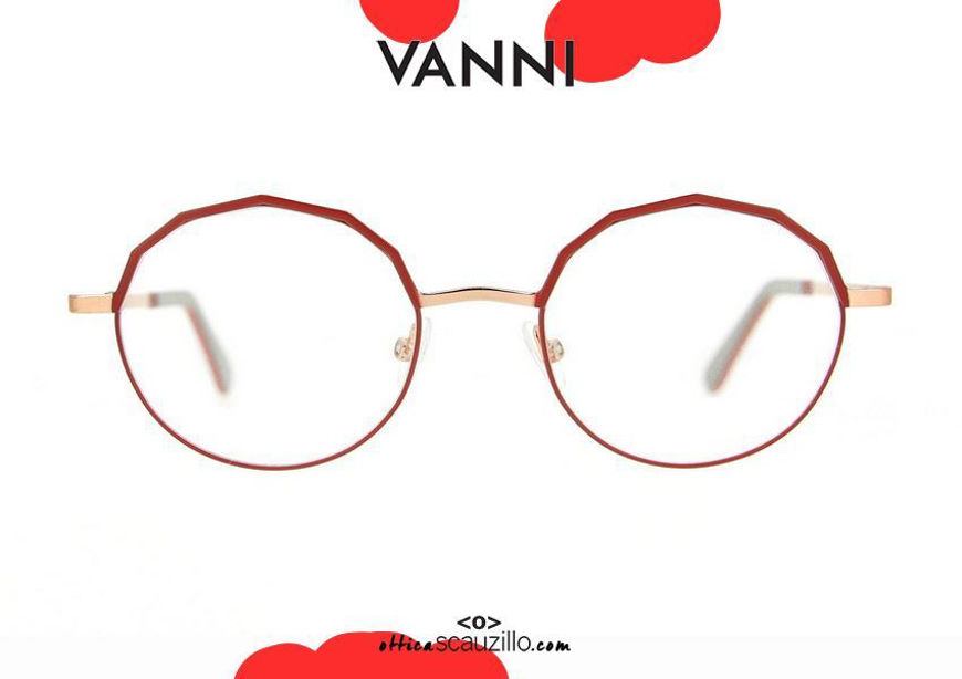 shop online new Round metal eyeglasses VANNI V6223 C.138 pink and red gold otticascauzillo.com acquisto online nuovo Occhiale da vista in metallo tondo VANNI V6223 C.138 oro rosa e rosso
