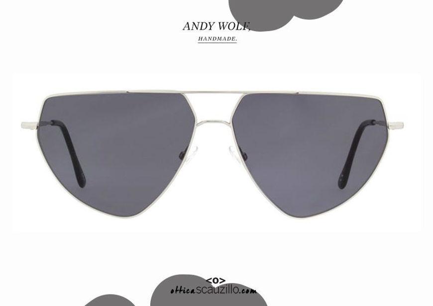 shop online new Aviator Andy Wolf metal teardrop sunglasses mod.DRAX col.A silver on otticascauzillo.com acquisto online nuovo Occhiale da sole metallo a goccia aviator Andy Wolf mod.DRAX col.A argento