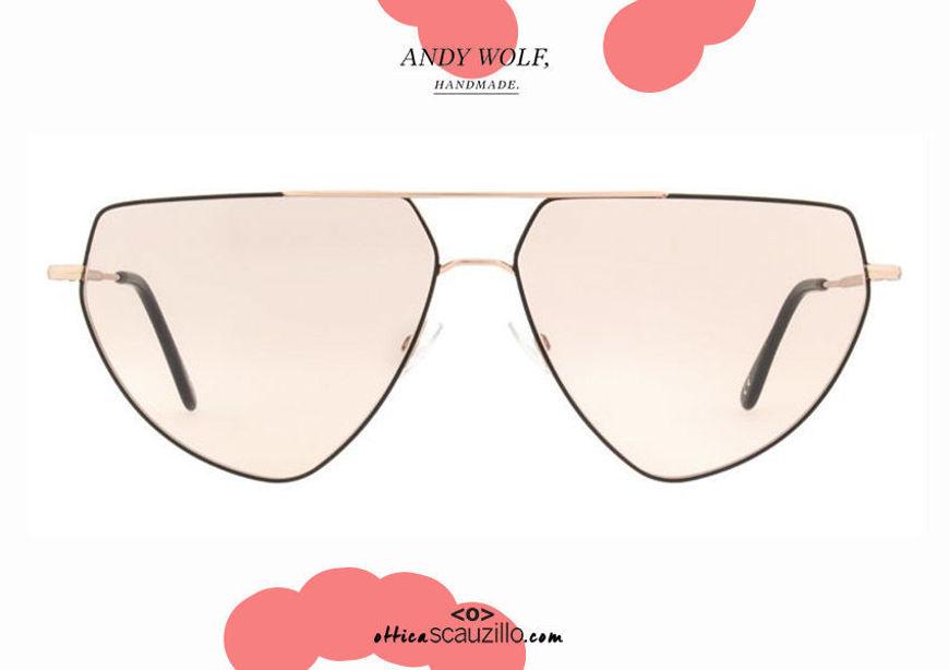shop online new Aviator metal sunglasses Andy Wolf mod.DRAX col.C black and rose gold on otticascauzillo.com acquisto online nuovo occhiale da sole metallo a goccia aviator Andy Wolf mod.DRAX col.C nero e oro rosa