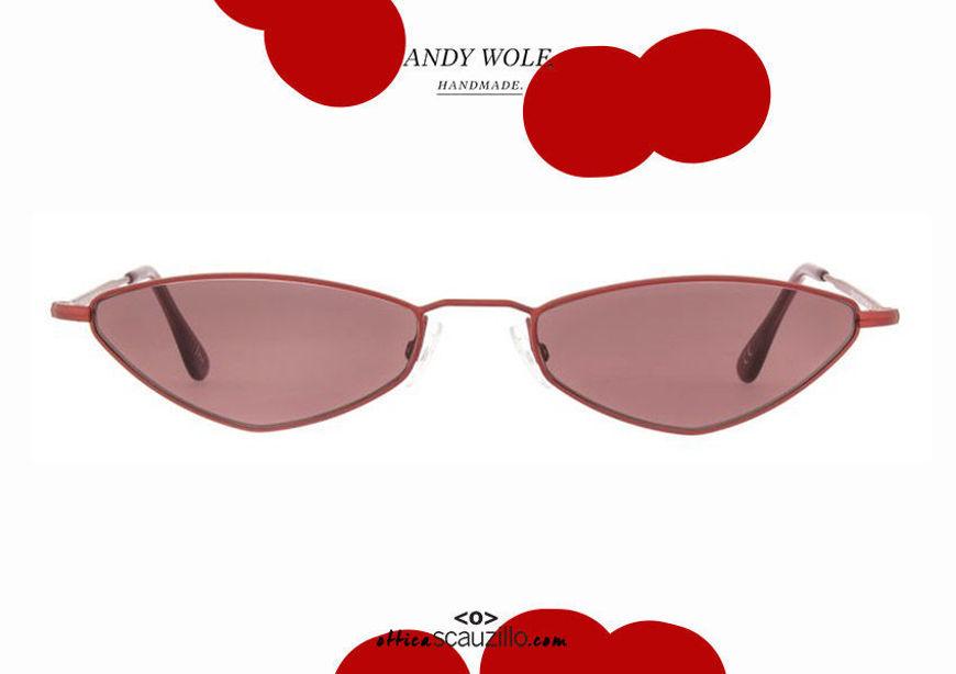 shop online new Narrow metal sunglasses Andy Wolf mod.ELIZA col.E red on otticascauzillo.com acquisto online nuovo Occhiale da sole metallo stretto Andy Wolf mod.ELIZA col.E rosso