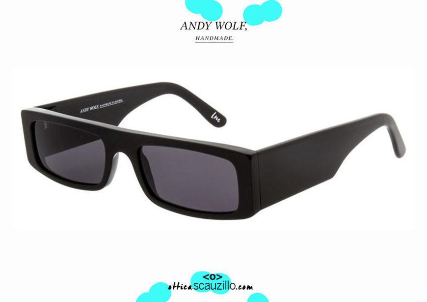 shop online new Narrow rectangular sunglasses Andy Wolf mod. HUME col.A black on otticascauzillo.com acquisto online nuovo Occhiale da sole rettangolare stretto Andy Wolf mod. HUME col.A nero