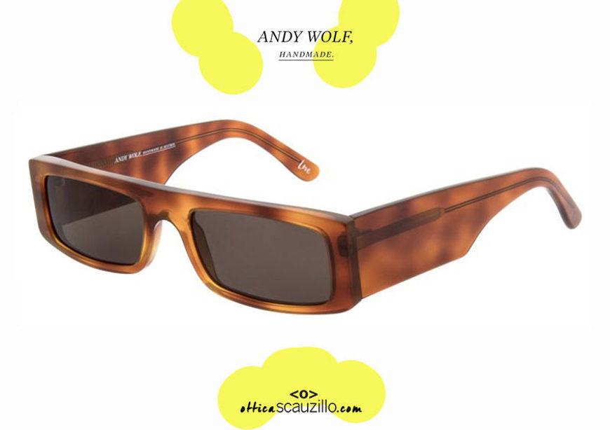 shop online new Narrow rectangular sunglasses Andy Wolf mod. HUME col.B Havana brown otticascauzillo.com acquisto online nuovo Occhiale da sole rettangolare stretto Andy Wolf mod. HUME col.B marrone havana