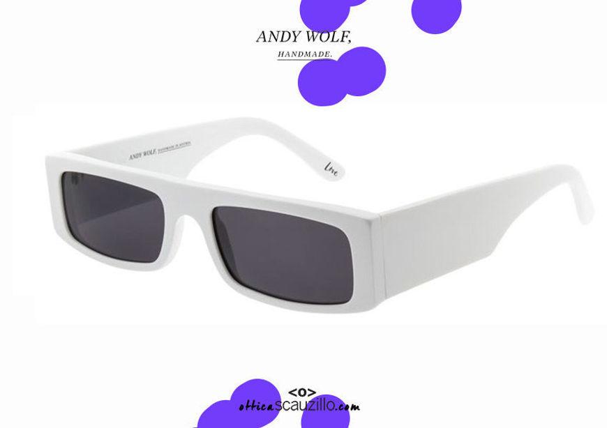 shop online new Narrow rectangular sunglasses Andy Wolf mod. HUME col. C white otticascauzillo.com acquisto online nuovo Occhiale da sole rettangolare stretto Andy Wolf mod. HUME col.C bianco