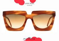 shop online new Oversized squared sunglasses Andy Wolf mod. ADELE col.E brown otticascauzillo.com acquisto online nuovo Occhiale da sole squadrato oversize Andy Wolf mod. ADELE col.E marrone