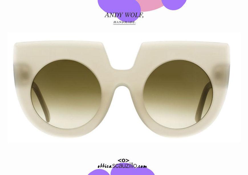 shop online Round oversize sunglasses Andy Wolf mod. DAPHNE col.G pearl gray otticascauzillo.com acquisto online nuovo Occhiale da sole tondo a punta oversize Andy Wolf mod. DAPHNE col.G grigio perla