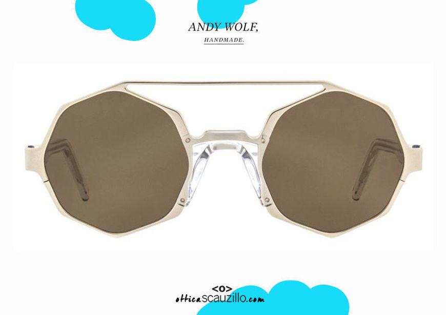 shop online new Geometric round sunglasses with double bridge Andy Wolf mod. ARLO col.F gold and transparent on otticascauzillo.com acquisto online nuovo Occhiale da sole tondo geometrico doppio ponte Andy Wolf mod. ARLO col.F oro e trasparente