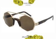 shop online new Geometric round double-frame sunglasses Andy Wolf mod. ARLO col.B gold and brown otticascauzillo.com acquisto online nuovo Occhiale da sole tondo geometrico doppioponte Andy Wolf mod. ARLO col.B oro e marrone