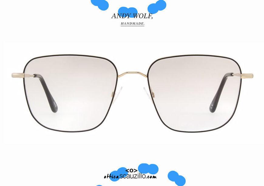 shop online New Square metal eyeglasses Andy Wolf mod. 4742 col.E gold and black otticascauzillo.com acquisto online nuovo Occhiale da vista metallo quadrato Andy Wolf mod. 4742 col.E oro e nero
