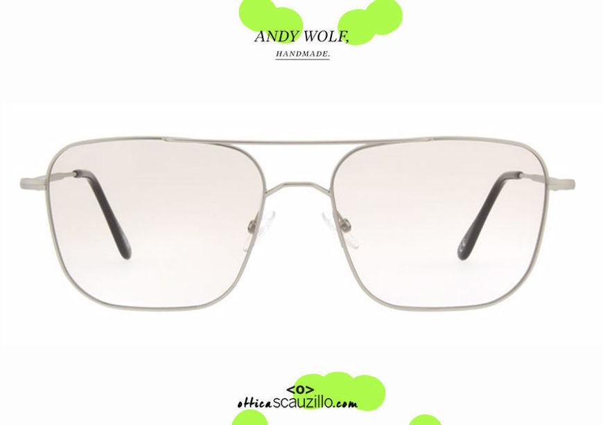 shop online Double bridge square metal eyeglasses Andy Wolf mod. 4737 col.A silver otticascauzillo.com acquisto online nuovo Occhiale da vista metallo squadrato doppio ponte Andy Wolf mod. 4737 col.A argento