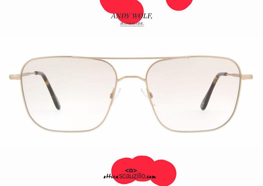shop online new Double bridge square metal eyeglasses Andy Wolf mod. 4737 col.B gold otticascauzillo.com acquisto online nuovo Occhiale da vista metallo squadrato doppio ponte Andy Wolf mod. 4737 col.B oro