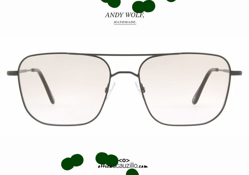 shop online Double bridge square metal eyeglasses Andy Wolf mod. 4737 col.D green otticascauzillo.com acquisto online nuovo Occhiale da vista metallo squadrato doppio ponte Andy Wolf mod. 4737 col.D verde