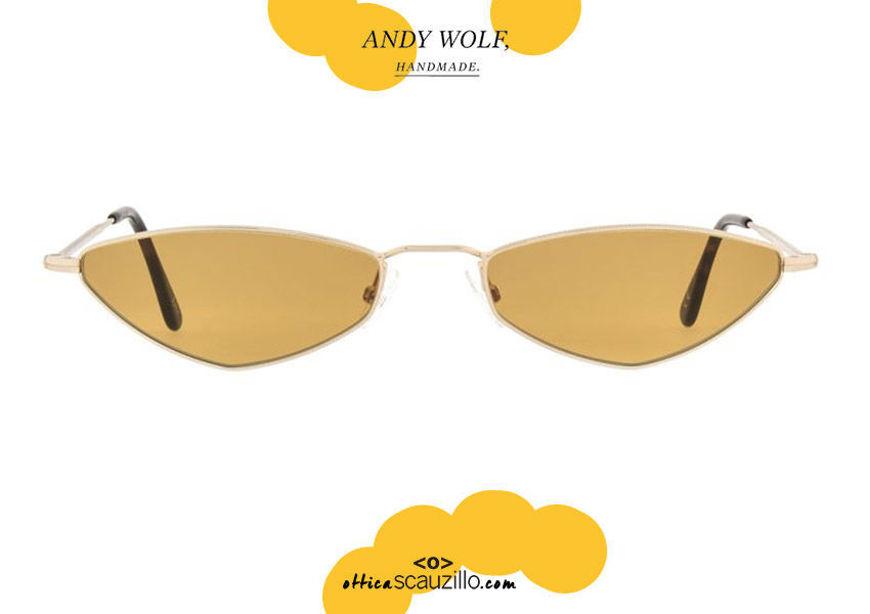 shop online new Narrow metal sunglasses Andy Wolf mod.ELIZA col.B orange on otticascauzillo.com acquisto online nuovo occhiale da sole metallo stretto Andy Wolf mod.ELIZA col.B arancio
