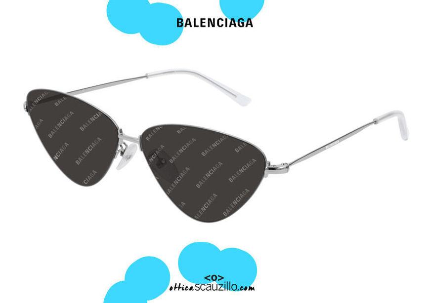 shop online Metal sunglasses cat eye logo Balenciaga BB0015S col. 004 silver on otticascauzillo.com acquisto online nuovo Occhiale da sole metallo cat eye logo Balenciaga BB0015S col.004 argento