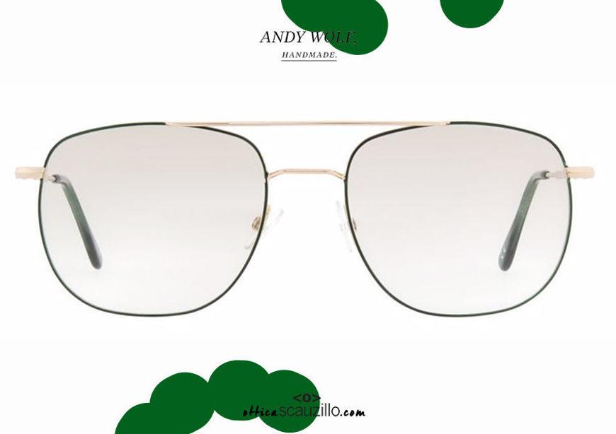 shop online new Metal double bridge eyeglasses Andy Wolf mod. 4741 col. E gold and green otticascauzillo.com acquisto online nuovo Occhiale da vista metallo doppio ponte Andy Wolf mod. 4741 col.E oro e verde