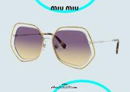shop online Oversized metal sunglasses MIUMIU 58VS col. 09D09B gold and silver otticascauzillo.com acquisto online nuovo Occhiale da sole metallo oversize MIUMIU 58VS col. 09D09B oro e argento