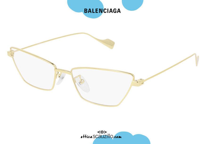 shop online New Balenciaga narrow pointed metal eyewear BB0091O col.003 gold otticascauzillo.com acquisto online nuovo occhiale da vista in metallo stretto a punta oro balenciaga