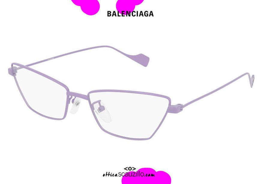 shop online New Balenciaga narrow pointed metal eyewear BB0091O col.004 lilac on otticascauzillo.com acquisto online nuovo occhiale da vista in metallo stretto a punta viola lilla balenciaga