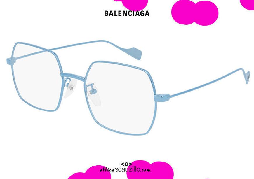 shop online New squared metal eyeglasses Balenciaga BB0090O col.004 light blue otticascauzillo.com acquisto online Nuovo occhiale da vista in metallo squadrato Balenciaga BB0090O col.004 celeste