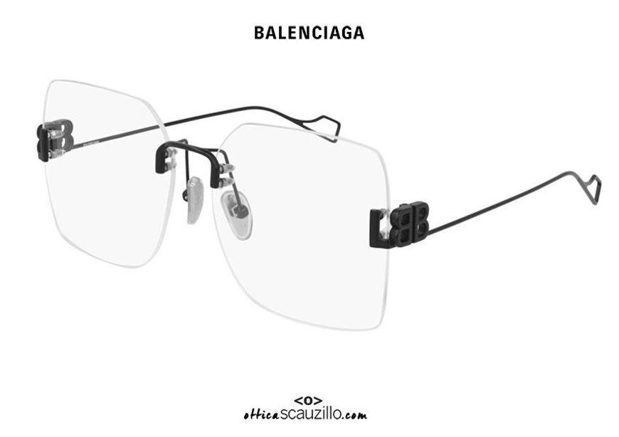 shop online New Balenciaga rimless metal glasses BB0113O col.001 black on otticascauzillo.com acquisto online Nuovo occhiale in metallo senza montatura Balenciaga BB0113O col.001 nero