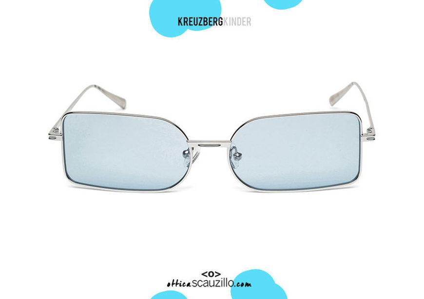 shop online KreuzbergKinder narrow rectangular metal sunglasses ARIEL col. Silver on otticascauzillo.com acquisto online nuovo Occhiale da sole in metallo rettangolare stretto KreuzbergKinder ARIEL col. Argento