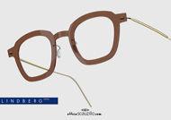 shop onlin new Square titanium eyeglasses N.O.W LINDBERG 6587 col. C02-PGT brown and gold on otticascauzillo.com  acquisto online nuovo occhiale da vista titanio quadrato N.O.W LINDBERG 6587 col. C02-PGT marrone e oro