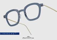 shop online Square titanium eyeglasses N.O.W LINDBERG 6587 col. C14-PGT blue and gold on otticascauzillo.com acquisto online il tuo nuovo occhiale  da vista titanio quadrato N.O.W LINDBERG 6587 col. C14-PGT blu e oro