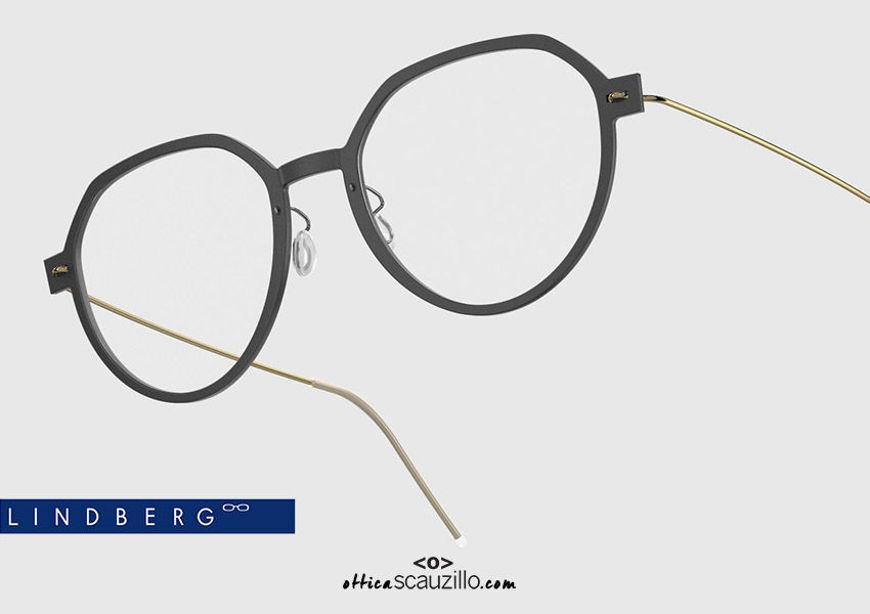 shop online Round titanium eyeglasses N.O.W LINDBERG 6582 col. D16-PGT black and gold on otticascauzillo.com acquisto online nuovo Occhiale da vista titanio tondo N.O.W LINDBERG 6582 col. D16-PGT nero e oro