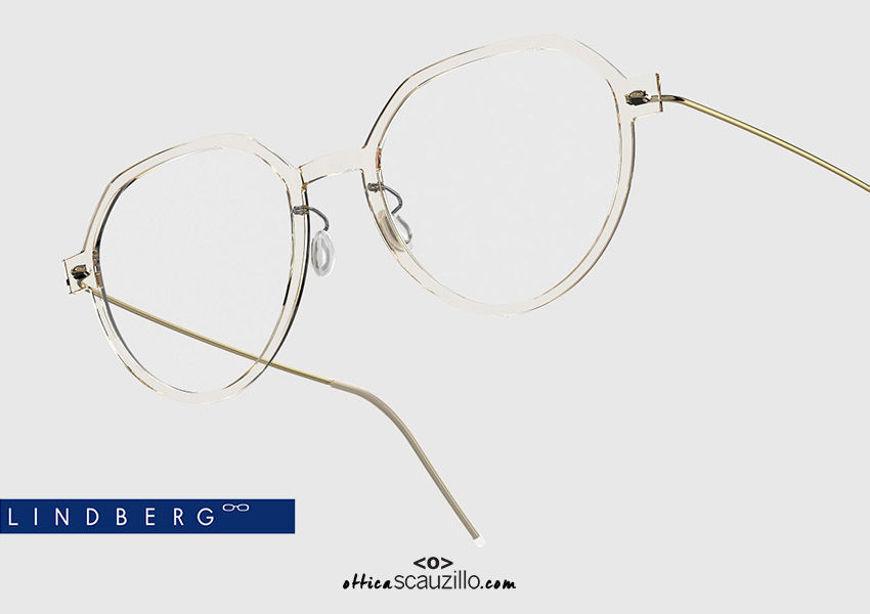 shop online new Round titanium eyeglasses N.O.W LINDBERG 6582 col. C21-PGT transparent and gold on otticascauzillo.com acquisto online nuovo Occhiale da vista titanio tondo N.O.W LINDBERG 6582 col. C21-PGT trasparente e oro