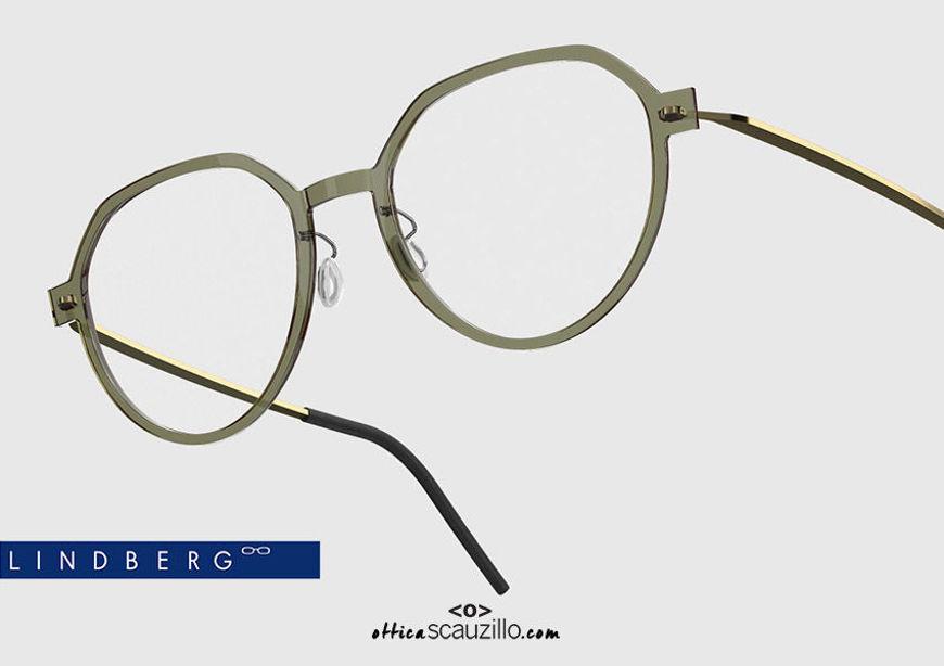 shop online new Round titanium eyeglasses N.O.W LINDBERG 6582 col. C11-PGT transparent green and gold on otticascauzillo.com acquisto online nuovo Occhiale da vista titanio tondo N.O.W LINDBERG 6582 col. C11-PGT verde trasparente e oro