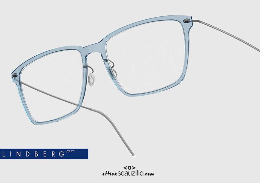 shop online new Rectangular titanium eyeglasses N.O.W LINDBERG 6505 col. C08-10 light blue and silver on otticascauzillo.com acquisto online nuovo occhiale  da vista titanio rettangolare N.O.W LINDBERG 6505 col. C08-10 celeste e argento