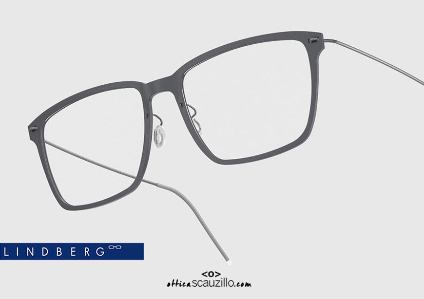 shop online new Rectangular titanium eyeglasses N.O.W LINDBERG 6505 col. D15-10 gray and silver on otticascauzillo.com  acquisto online nuovo occhiale  da vista titanio rettangolare N.O.W LINDBERG 6505 col. D15-10 grigio e argento