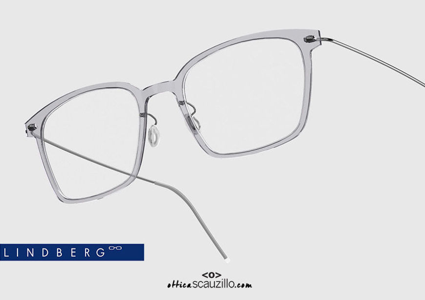 shop online new Rectangular titanium eyeglasses N.O.W LINDBERG 6536 col. C07-P10 silver gray on otticascauzillo.com acquisto online nuovo Occhiale da vista titanio rettangolare N.O.W LINDBERG 6536 col. C07-P10 grigio argento