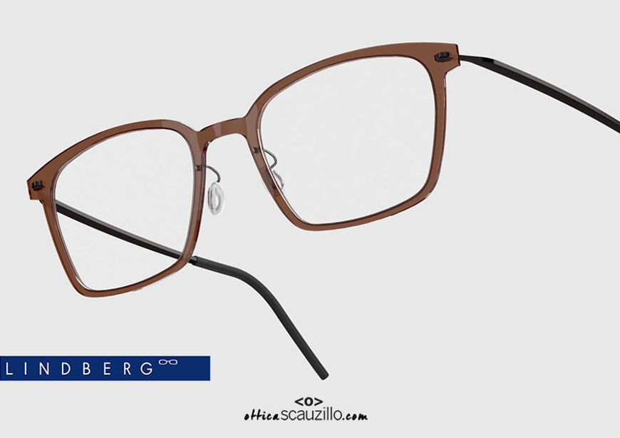 shop online Rectangular titanium eyeglasses N.O.W LINDBERG 6536 col. C02-PU9 brown black on otticascauzillo.com acquisto online nuovo  Occhiale da vista titanio rettangolare N.O.W LINDBERG 6536 col. C02-PU9 marrone nero