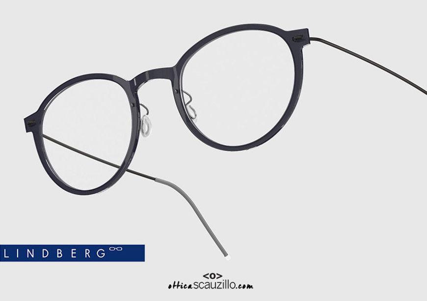 shop online new Round titanium eyeglasses N.O.W LINDBERG 6527 col. C06-U9 black on otticascauzillo.com acquisto online nuovo occhiale  da vista titanio tondo N.O.W LINDBERG 6527 col. C06-U9 nero