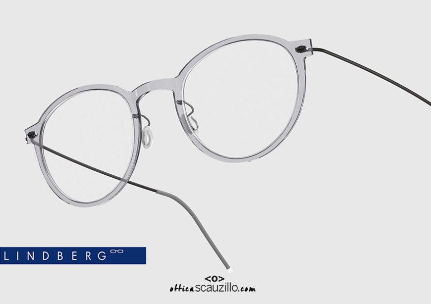shop online new Round titanium eyeglasses N.O.W LINDBERG 6527 col. C07-U9 gray and black on otticascauzillo.com acquisto online nuovo Occhiale da vista titanio tondo N.O.W LINDBERG 6527 col. C07-U9 grigio e nero